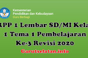 RPP 1 Lembar SD/MI Kelas 1 Tema 1 Pembelajaran Ke-3 Revisi 2020