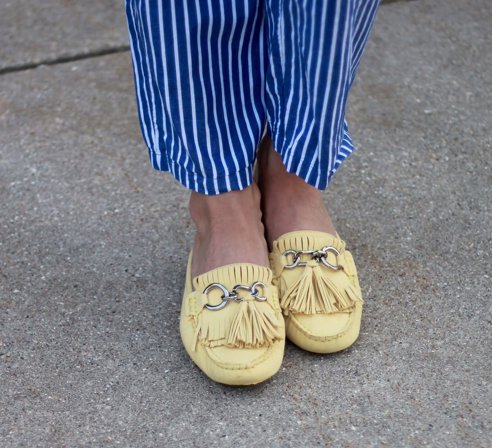 yellow scalloped top, striped paperbag pants, yellow mules, kate spade cognac crossbody,