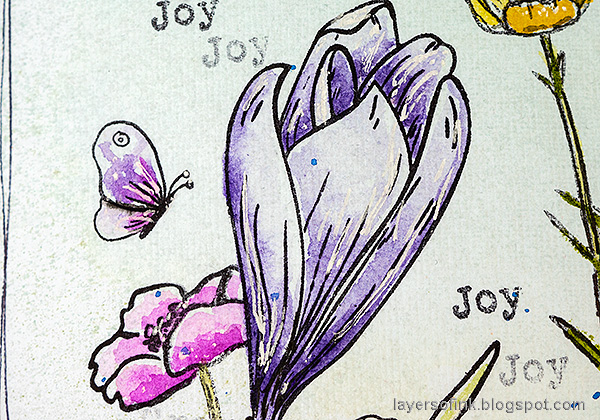 Layers of ink - Thoughtful Flowers Watercolor Garden Tutorial by Anna-Karin Evaldsson. Stamped and watercolored crocus.