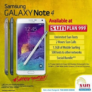 Samsung Galaxy Note 4 offered at Sun Plan 999