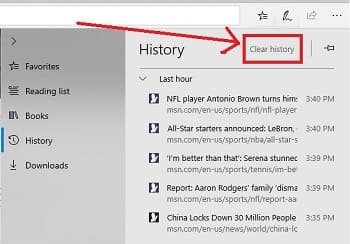 How to clean microsoft edge browser history?