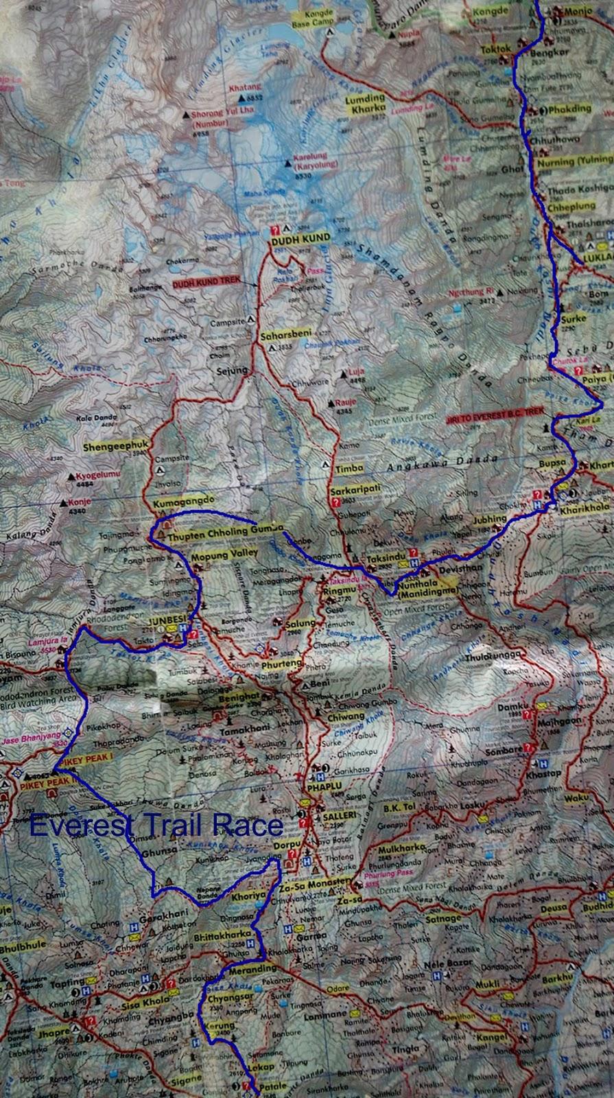 Everest Trail Race Route