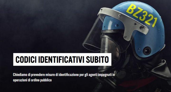 Campagna Amnesty Codici Identificativi per gli agenti impegnati in operazioni di ordine pubblico
