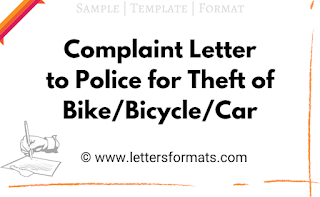 write a complaint letter to the police station regarding the theft of your bike