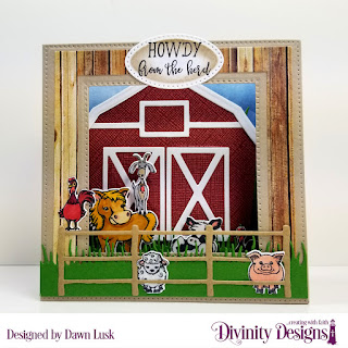 Stamp Set: Hogs and Kisses, Stamp/Die Duos: Farm Friends, Custom Dies: Barn, Farm Fence, Diorama with Layers, Pierced Ovals, Grass Lawn, Grass Border, Paper Collection: Weathered Wood