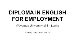 Diploma In Engish for Employment 2021