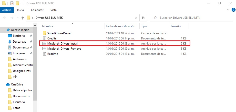 Instalar drivers USB BLU en Windows paso a paso