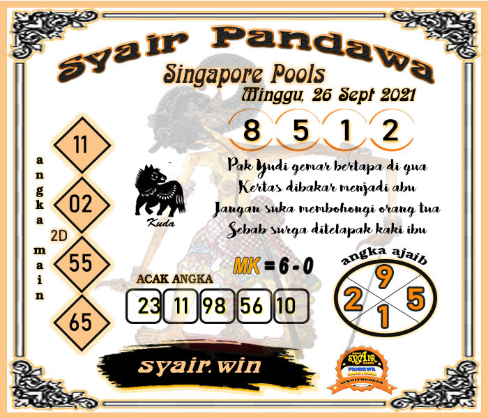Syair Pandawa Sgp Minggu 26 September 2021