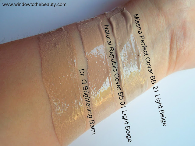 Cream BB Bright +  DR. G swatches