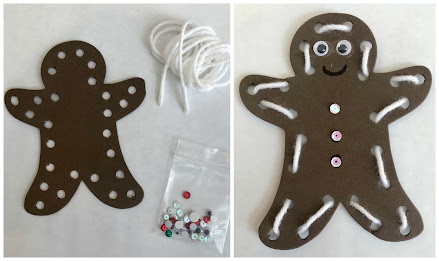 Gingerbread man craft, gingerbread man lacing activity