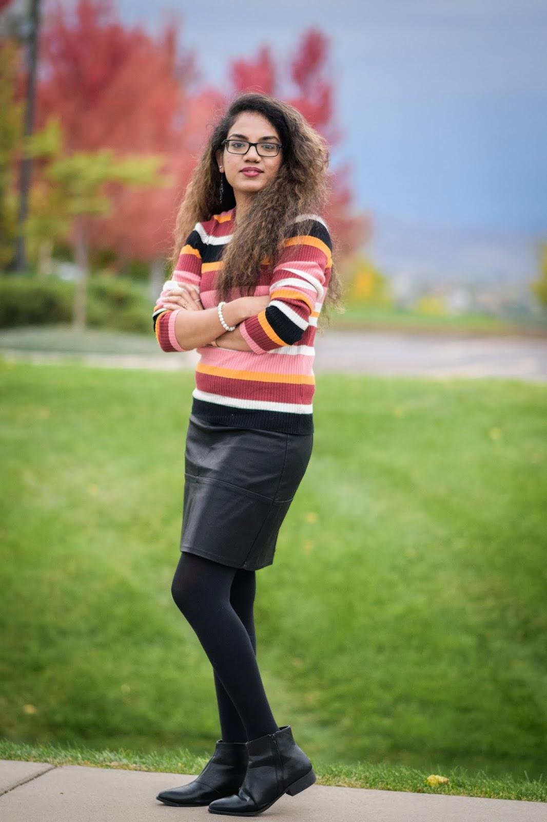 Welcoming Fall; Aim for Glam; Prasanthi Kadiyala; Denver Blogger; Forever21; Fall Fashion; Faux Leather Skirt; New Look; Colorado