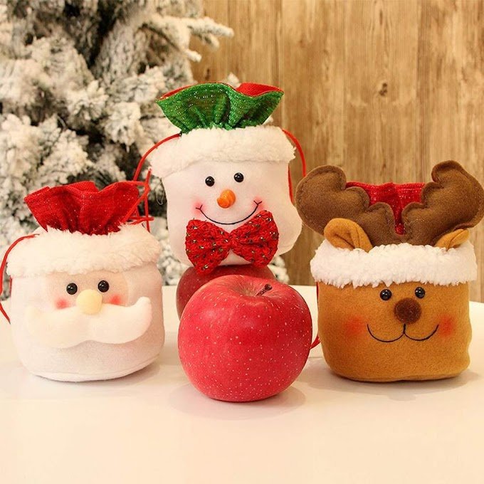 HOOSEN Christmas Candy Drawstring Bag Containers for Home Party Decoration Ornament Accessories Gift