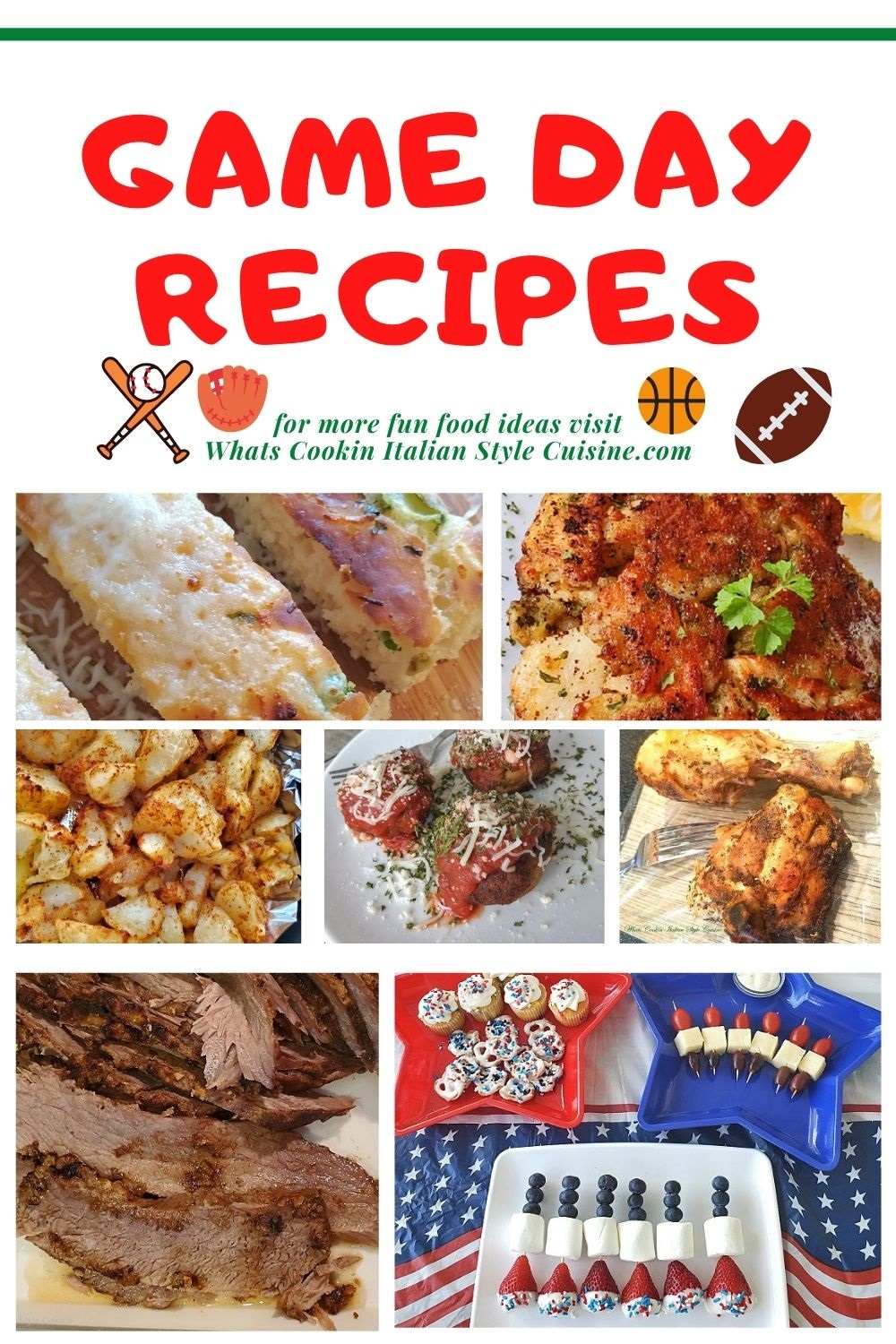 game day recipe roundup pin for later collage