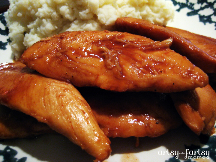 3 Ingredient Slow Cooker BBQ Chicken at artsyfartsymama.com