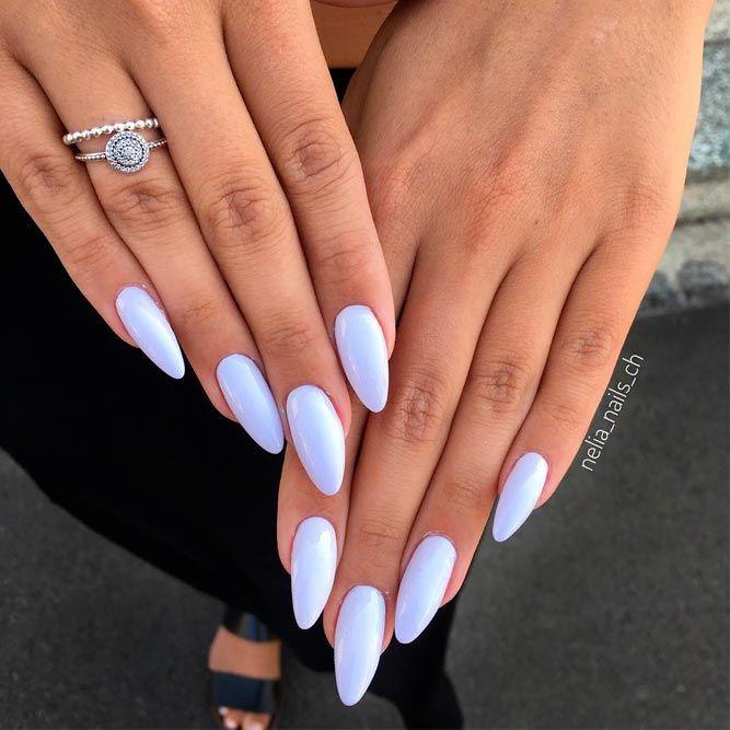 Elegant White Almond Nails