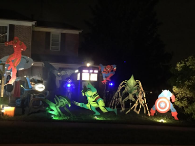 Superhero Halloween display with Tardis