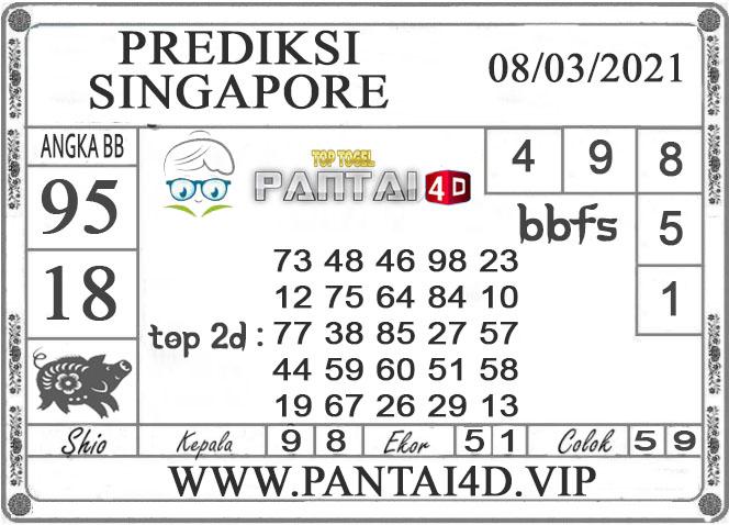 PREDIKSI TOGEL SINGAPORE PANTAI4D 08 MARET 2021