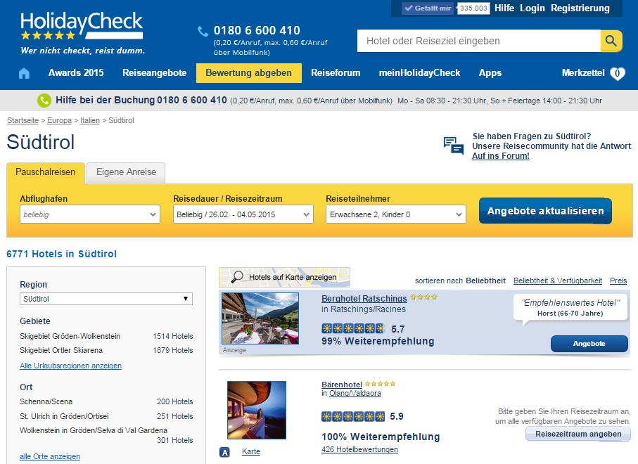 Hotelbewertungen mit HolidayCheck