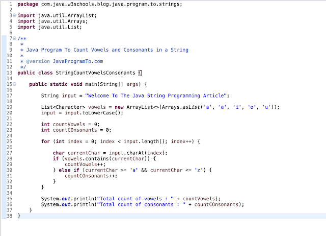 Java Program To Count Vowels and Consonants in a String example