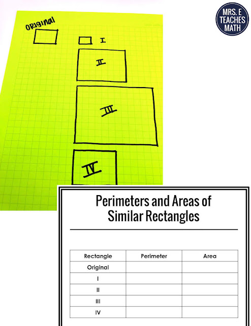 Area and perimeter of similar figures can be tricky for geometry students, but this hands-on investigation activity will help! I love adding this to my student's interactive notebook before we do the class notes. #mrseteachesmath #geometry #similarfigures