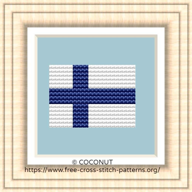 NATIONAL FLAG OF FINLAND CROSS STITCH CHART