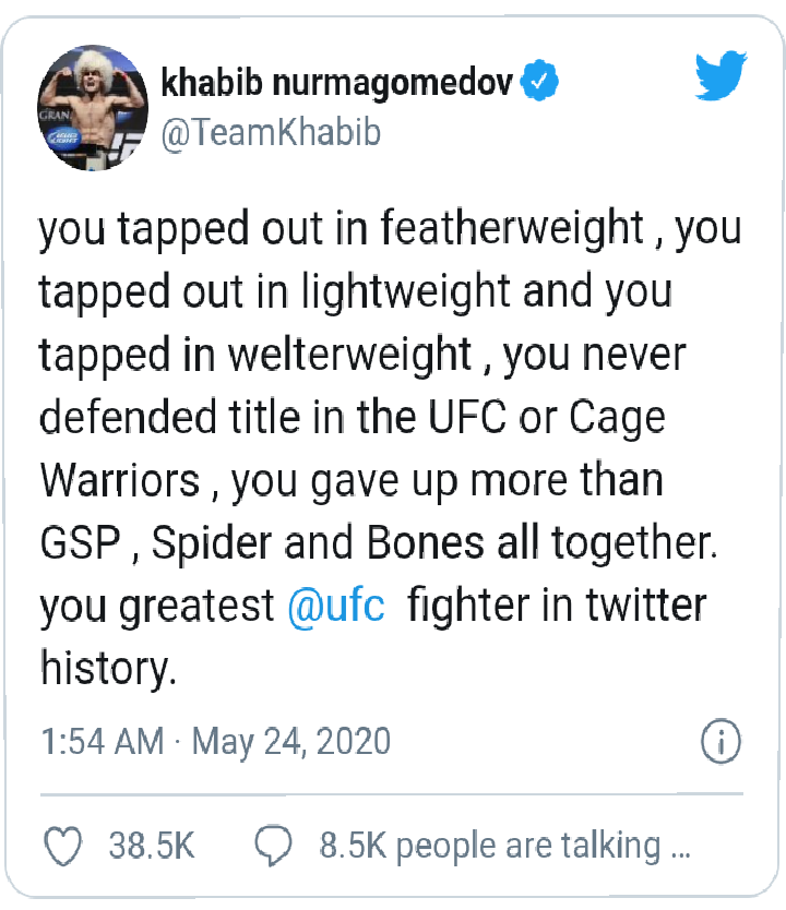 Khabib Nurmagomedov Replies Conor McGregor