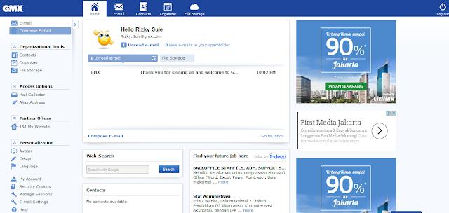 Tampilan Email GMX dengan Iklan Pada Samping Kanan
