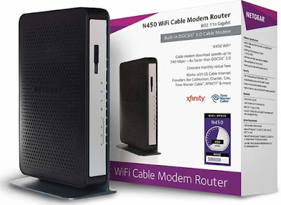 NETGEAR N450-100NAS WiFi Cable Modem Router