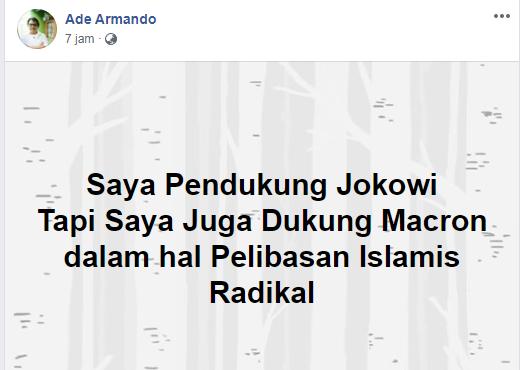 Ade Armando: Saya Pendukung Jokowi tapi Juga Mendukung Macron