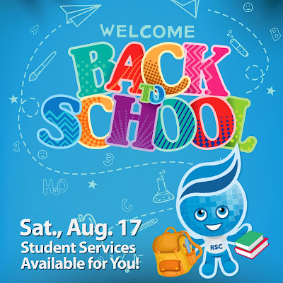 Poster featuring Rio Salado mascot splash holding backpack and books.  Text: Welcome Back to School.  Sat., Aug. 17 Student Services Available for You!