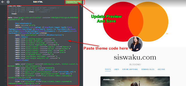 How to install Tumblr theme code