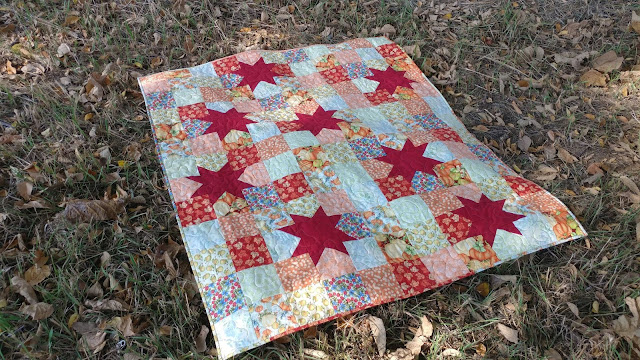Pumpkin quilt with stars