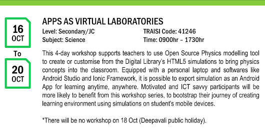 Apps as Virtual Laboratories Workshop 16-20 October 2017