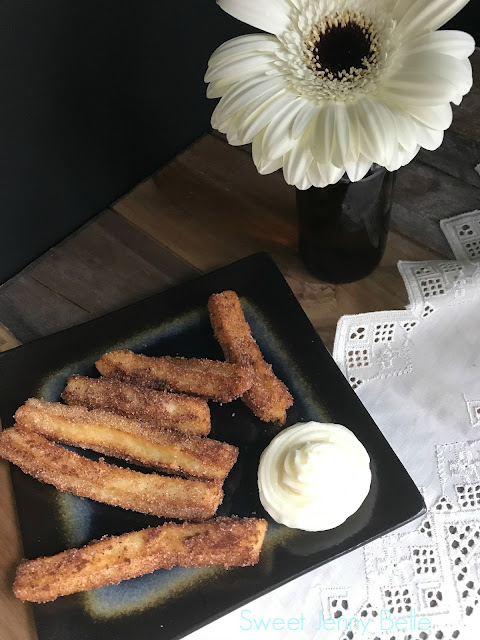 traditional churros with lime buttercream