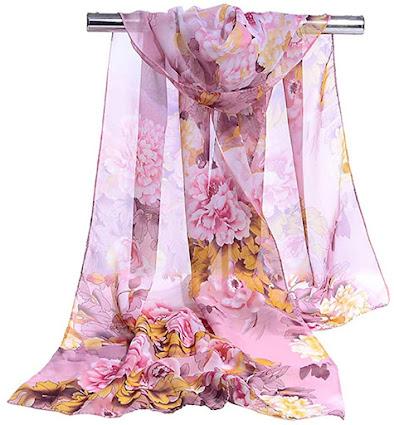 Beautiful Floral Purple Chiffon Scarf