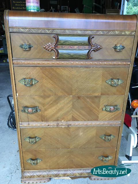vintage waterfall dresser with bakelite hardware given vintage graphic transfer