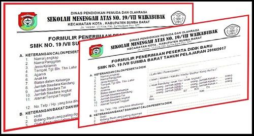 Contoh Formulir Penerimaan Siswa Baru Jenjang SD, SMP, SMA dan SMK Tahun Pelajaran 2020/2021