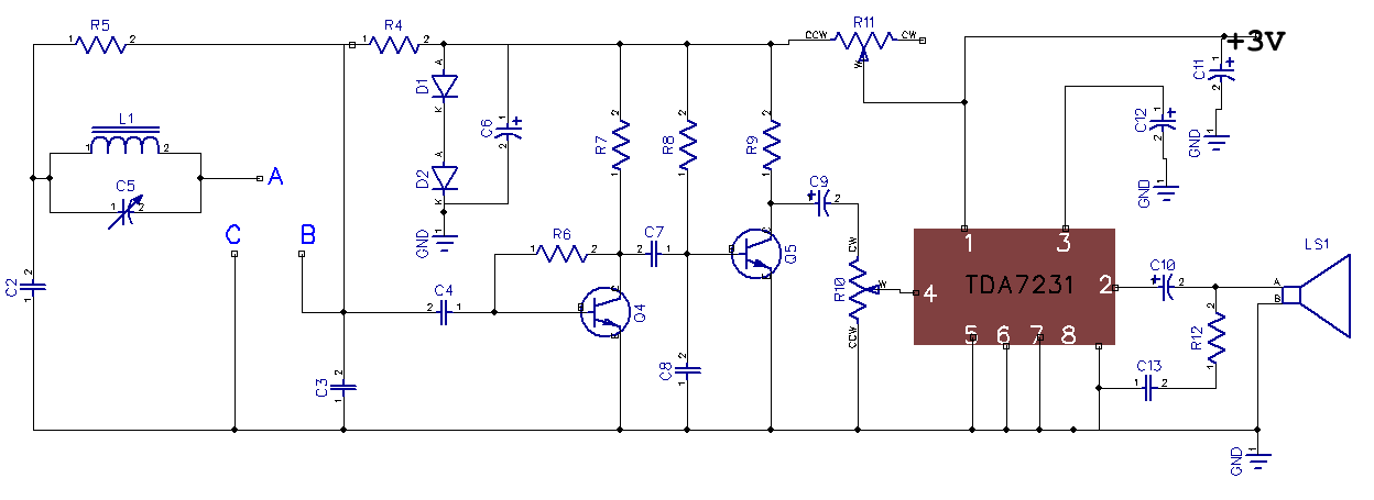 Simple 5 transistor AM receiver circuit: Using equivalent circuit to