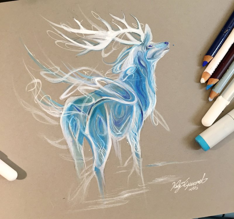 10-Stag-Patronus-Katy-Lipscomb-Colourful-Drawings-and-Illustrations-www-designstack-co