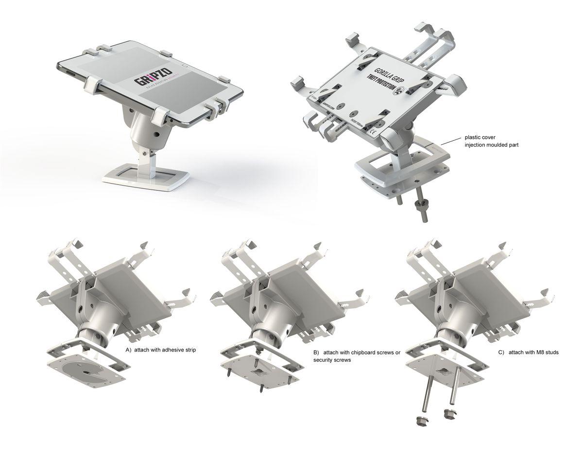 壁掛式平板防盜架,Gripzo平板電腦展示防盜架可採用螺絲或螺桿鎖固安裝,支援平面及垂直面安裝,平板防盜架壁掛安裝
