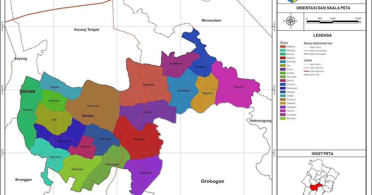 Peta Administrasi Kecamatan Guntur, Kabupaten Demak ...