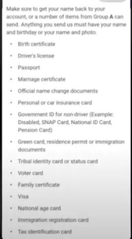 Goverment ID List