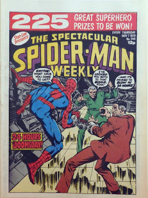 Spectacular Spider-Man Weekly #348, chained to J J Jonah Jameson, Professor Smythe