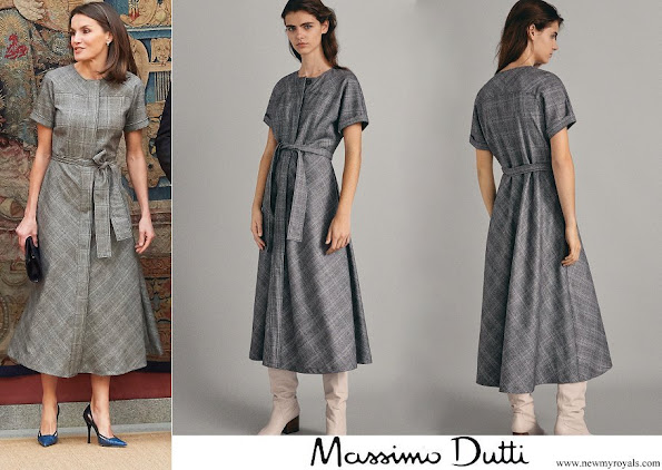 Queen Letizia wore Massimo Dutti wool check dress