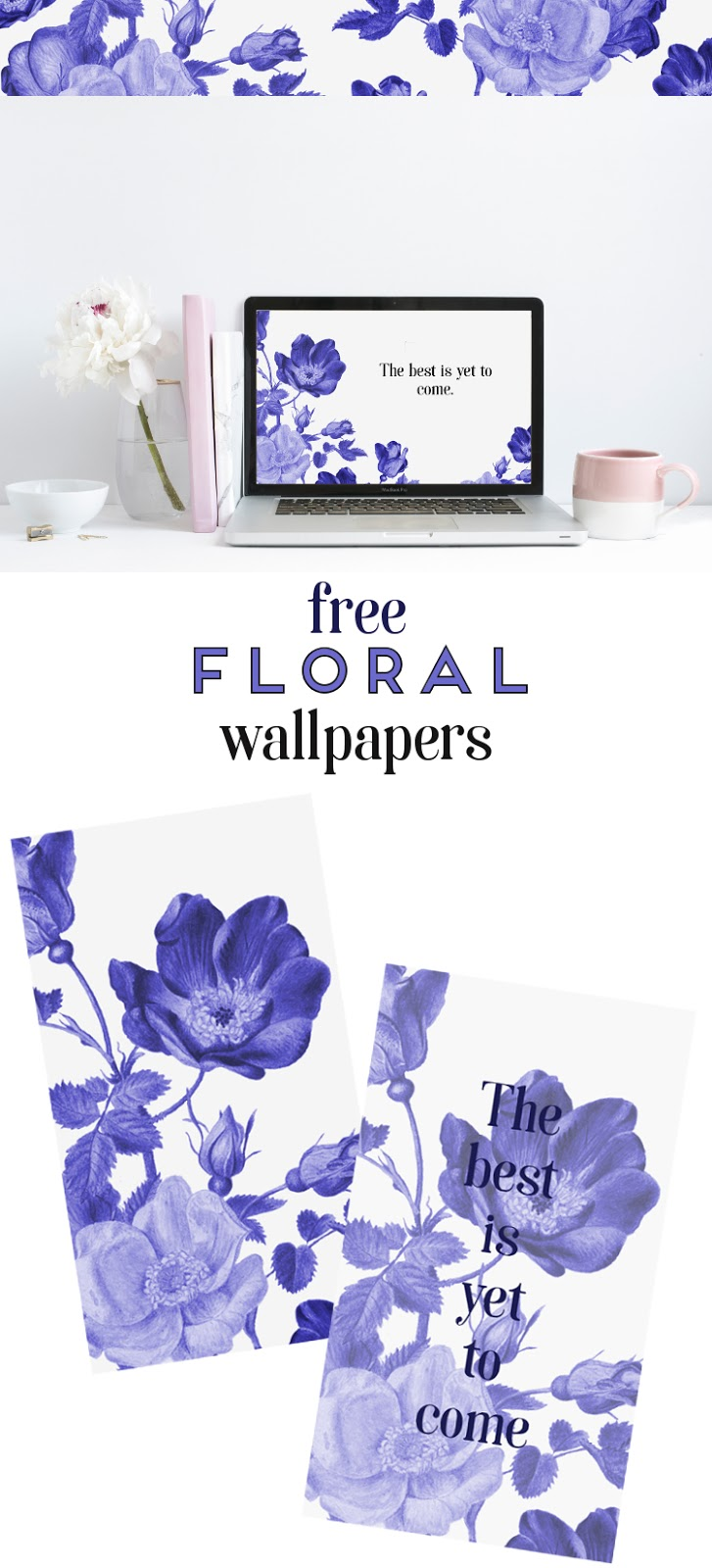 FREE INKY BLUE FLORAL WALLPAPERS.