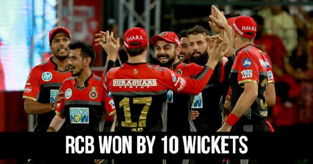 Royal Challengers Bangalore won by 10 wickets