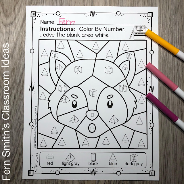 Color By Code Math Kindergarten Remediation Basic 3D Shapes Three Little Pigs