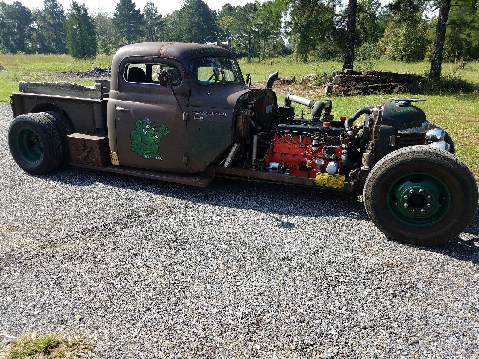 hight resolution of 53 international ratrod truck with two 230 6 cylinders turbo 350 transmission belt driven all tube chassis chevy dually rear end with 4 88 gears chain