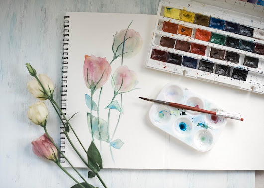 //How to Start to Paint Fresh Flowers in Water Color//