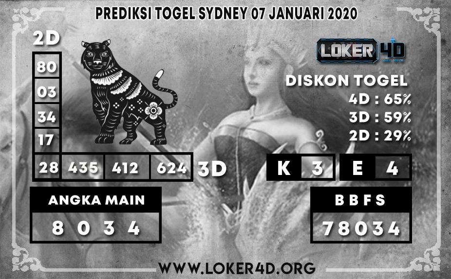 PREDIKSI TOGEL SYDNEY LOKER4D 07 JANUARI 2020